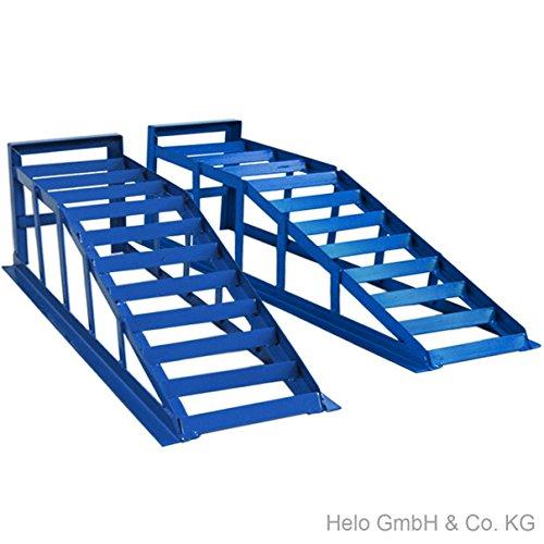 Helo 2 Stück KFZ Auffahrrampe blau 2000 kg Belastung pro Paar (max. 245 mm Reifenbreite), PKW Rampe Auffahrbock mit 23 Grad Auffahrwinkel und 235 mm Auffahrhöhe